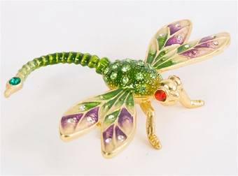 Elegant Dragonfly Trinket Box. 24k gold.
