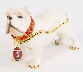Georgia Bulldog Trinket Box with Football Charm