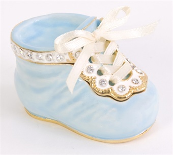 """It's a Boy"" Baby Shoe Trinket Box Gift Keepsake"