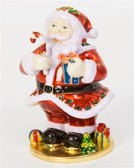 Jeweled Santa Claus Trinket Box