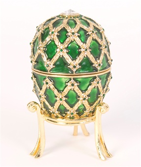 "Faberge Style ""Octopussy"" Emerald Egg Trinket Box"
