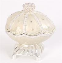 "Majestic Silver Musical Egg Trinket Box plays ""My Heart Will Go On"""