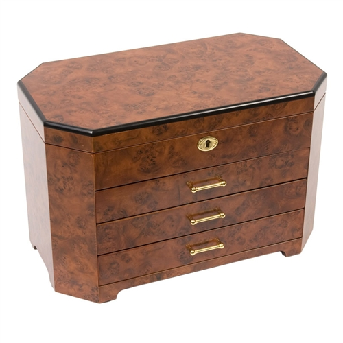 Rustic Burl Wood Locking Jewelry Box Chest