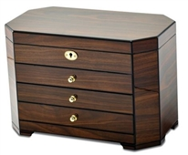 Locking Walnut Wooden Jewelry Box, JBC113W Large Jewelry Box