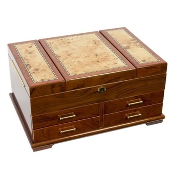Unique Bubinga Jewelry Box with Inlay,Locking Top