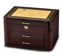 Executive Dark Wood Inlaid Jewelry Box with Burgandy Finish and Lock, Jere Wright JBC129