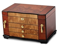 Fully Locking Bubinga Wood Jewelry Chest Elm Inlay, JBC252