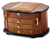 Oak Burl Wooden Jewelry Box, Large Jewelry Box