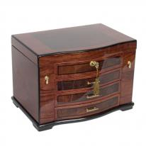Stunning Fully Locking Wooden Jewelry Box Chest with Burled Inlay