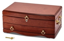 Cherry Matte Bubinga single Drawer Locking Jewelry Chest