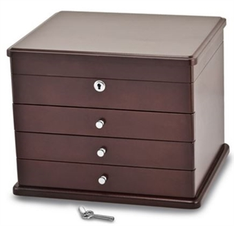 Mahogany Finish Poplar Veneer 3-Drawer Jewelry Chest