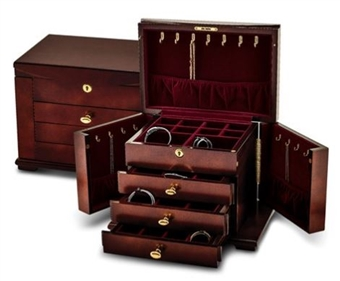 Cherry Finish Jewelry Chest with Side Cabinets