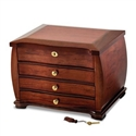 Fine Curved Wooden Jewelry Box Chest with Brass Lock & Key
