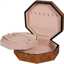 Octagon Burlwood Jewelry Box with Lift Tray