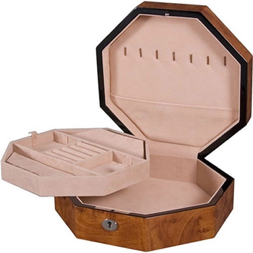 Burlwood Jewelry Box with Lift Tray