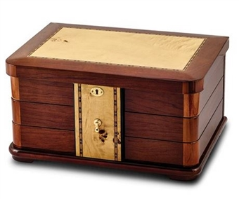 Fully Locking Swing Out Jewelry Box Chest with Bubinga Inlay