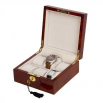 6 Watch Burlwood Wooden Watch Box with Inlay