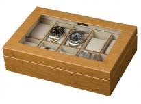Glass Top Watch Box for 10 Mens or Womens Watches, Bamboo Finish