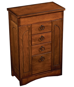 Rustic Antique Walnut Upright Jewelry Box Armoire
