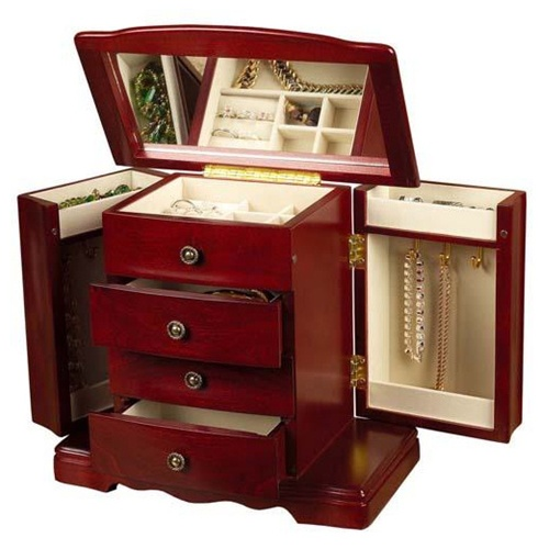 Musical Wooden Cherry Jewelry Chest