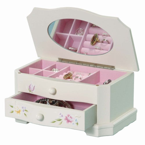 Handpainted white wood jewelry box for little girls for Girls large jewelry box