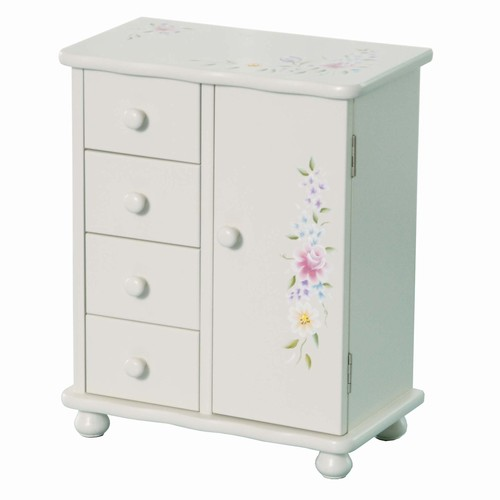 Little Girls Wooden Jewelry Armoire White Handpainted Flowers