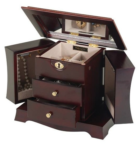 Mini Mahogany Jewelry Armoire Dresser Top Jewelry Chest