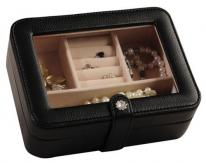 Small Black Travel Jewelry Case with Crystal Clasp