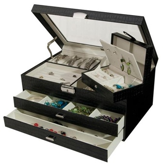 Black Croco Leather Jewelry Box with Glass Top Windowed Lid
