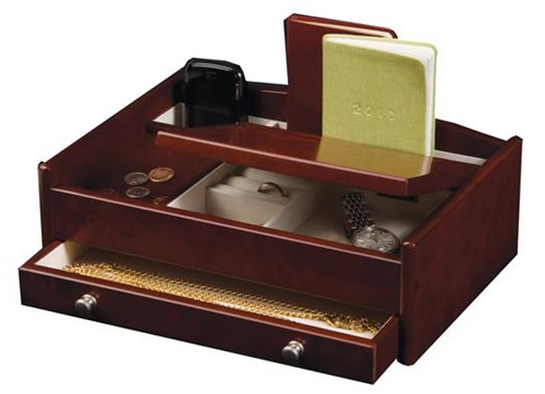 Mens Dresser Top Valet Jewelry Box and Accessories Organizer