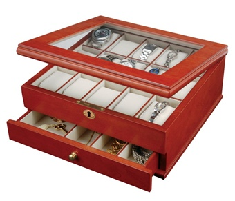 Wooden Watch Box with Jewelry Drawer holds 15 Watches and Accessories