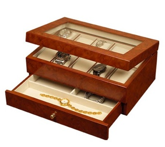 Oak Watch Jewelry Box, Multiple Watch Collection Case, Mele Winston 681-11