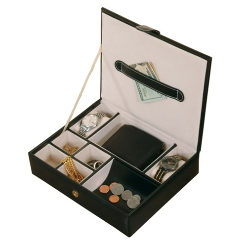 Top Mens Black Leather Jewelry Valet Case TU93