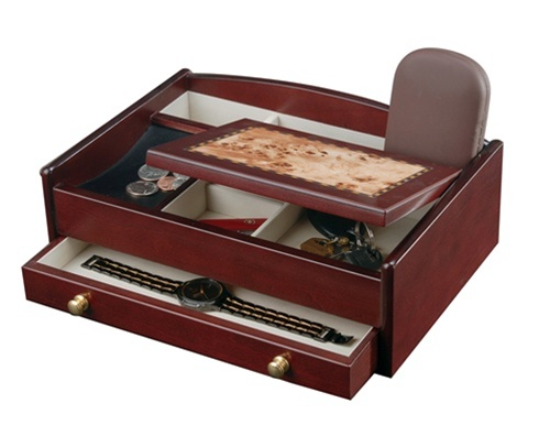 Mens Wood Jewelry Valet Cherry Jewelry Box for Men