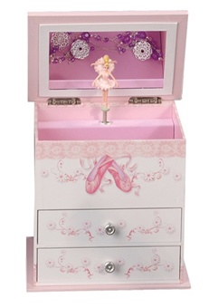 White Musical Ballerina Jewelry Box - Mele Jewelry Box Angel 711-11