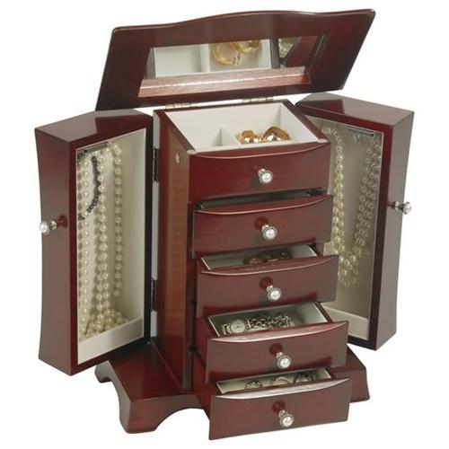 Upright Jewelry Box with Necklace Storage