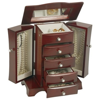 Mahogany Upright Jewelry Box with Necklace Storage