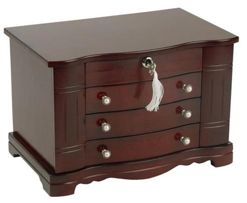 Elegant Mahogany Jewelry Box Chest Dresser Top Mini Armoire