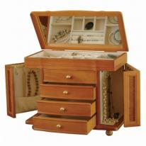 Large Oak Jewelry Box, Mele Josephine Jewelry Box Chest with necklace holder sides, ring and earring organizers, Mele & Co 0076011