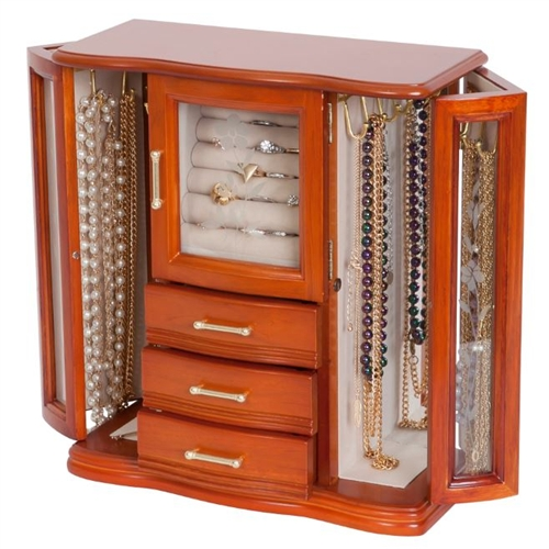 Etched Glass Upright Jewelry Box Armoire