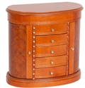 Rounded Classic Oak Finish Jewelry Box Armoire