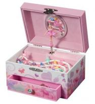 Musical Jewelry Box with Fairy Ballerina and Pink Flower Garden