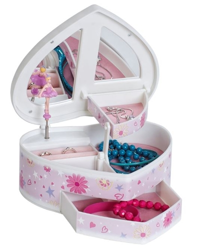 Heart Shaped Musical Ballerina Jewelry Box