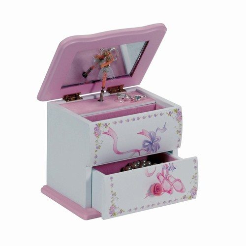 White Wood Musical Ballerin Jewelry Box Sugar Plum Fairy