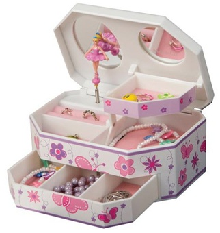 Plastic Ballerina Music Jewelry Box with Butterflies, Mele Kelsey 00810S11M