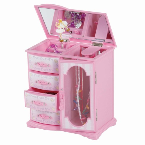 Upright Pink Musical Jewelry Box With