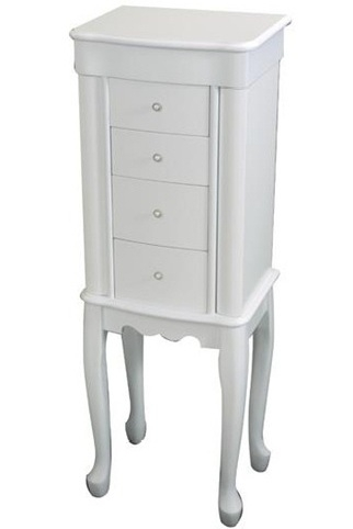 Ivory White Girls Wooden Jewelry Armoire