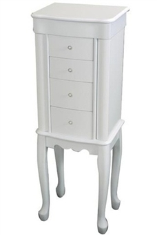 White wood jewelry armoire - Girls standing jewelry box by Mele. Alexis 878-11