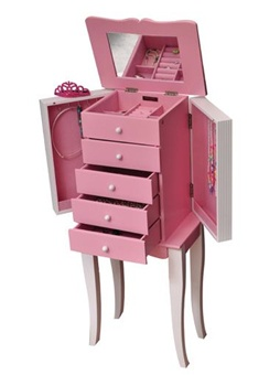 Girls Painted Jewelry Armoire in White and Pink