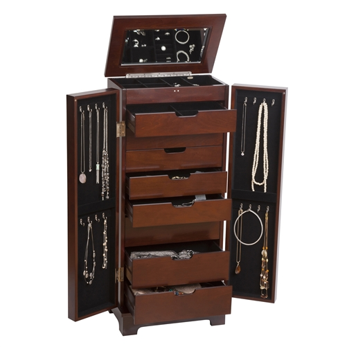 Opening Dark Walnut Standing Jewelry Armoire